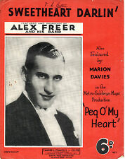 SHEET MUSIC - SWEETHEART DARLIN' from the film PEG O' MY HEART -ALEX FREER(1933)