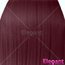 "15"" Clip in Hair Extensions STRAIGHT Cheryl Cole Red #99J FULL HEAD 8pcs"