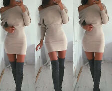 UK Off Shoulder Blouse Winter Party Batwing Long Sleeve Bodycon Mini Shirt Dress