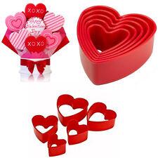 Corazón Cortador De Galletas De Tala Valentine Plástico 5 Molde Rojo pastelería respaldo Moldes