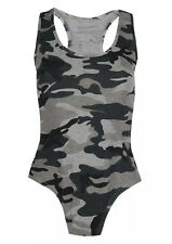Women Army Leopard Print Muscle Bodysuit Racer Back Sleeveless Leotard Top
