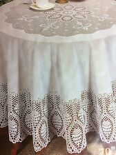 Vinyl Tablecloth Open Hand Crochet Style Pattern, White, Round 70in or Oblong.