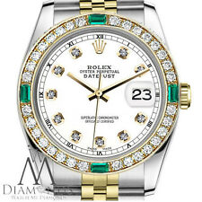 Women's Rolex 31mm Datejust 2Tone WhiteColor Dial with Emerald Diamond Accent RT