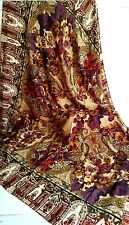 PETER NYGARD 100% Silk SHAWL Square Scarf Brown Olive Burgundy Purple Floral