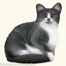DOOR STOPS - GRAY & WHITE CAT DOOR STOP - CAT DOORSTOP