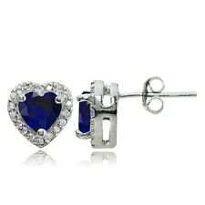 Sterling Silver 1.7ct Created Blue Sapphire and White Topaz Heart Stud Earrings