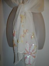 Floral Shawl Wrap Scarf Sheer Mesh Chiffon Ivory White Sequin Beaded Holiday