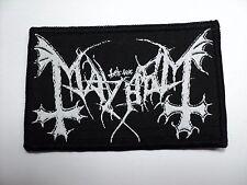 mayhem white   logo     WOVEN  PATCH