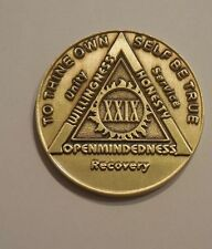 aa bronze alcoholics anonymous 29 year sobriety chip coin token medallion
