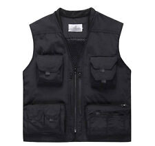Mens Quick Dry safari waistcoat hunting fishing Hooded vest photo jacket