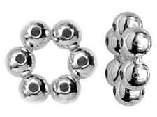 5 SHINY POLISHED STERLING SILVER DAISY SPACER BEADS, 5 MM, SPACERS