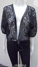 Charlie Brown-Black Lace Wrap Top Jacket-Size S