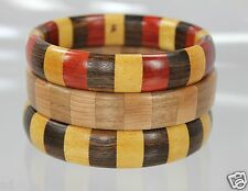 Set 3 Hand Made Artist Signed Segmented Exotic Wood Bangle Stack Bracelets New