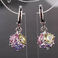 Fashion 18k white gold filled Multi-colored sapphire crystal dangle earring
