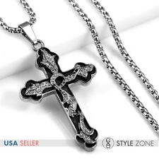Men's Stainless Steel Vintage Gothic British Cross Pendant Box Link Necklace P44