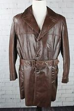 Vintage 1970s Mens Grais Angel Skin Nappa Leather Sherpa Lined Trench Coat Sz 46
