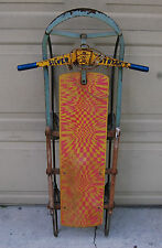 Rare and Very Cool Vintage 1960s Silver Streak Snow Sled w/ Psycho Delic Design