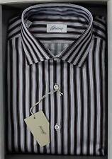 Brioni NWT 100% Cotton Navy Light Blue Burgundy Striped Dress Shirt 40 15 3/4
