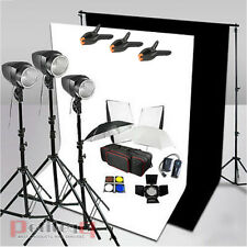 540W Studio Flash Lighting Kit Photography Black/White Backdrop Background Stand