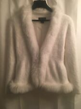 Venesha ANGORA Princess REAL WHITE FOX FUR Fuzzy Jacket CARDIGAN SWEATER M L