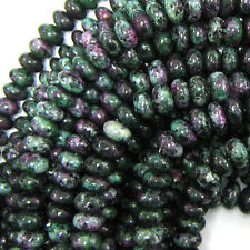 """4x8mm ruby zoisite jade rondelle beads 15.5"""" strand"""