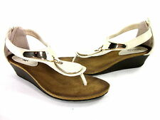 BUCCO WOMEN'S DEMURE WEDGE FASHION COMFORT SANDALS BEIGE SYNTHETIC US SIZE 10 M