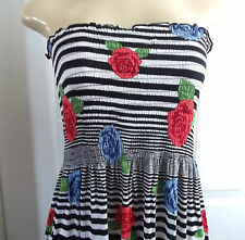 FLORAL STRIPE BLACK WHITE RED ROSES SUMMER ELASTIC DRESS MAXI LONG STRAPLESS 2X