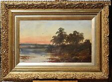 Gentle Sunset. Lakeland. Countryside Minor Master c.1900 Antique oil painting