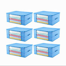 6 pieces Home Foldable Under Bed Storage Bag Case Container Handle Blue Stripes