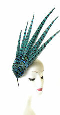 Dark Turquoise Blue Black Pheasant Feather Statement Fascinator Races Vtg 1464
