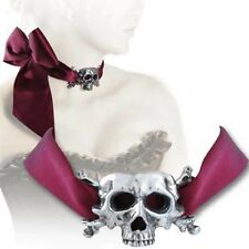 Alchemy Gothic I Dieth Choker Necklace Pewter Skull Cross Bones Red Satin P665