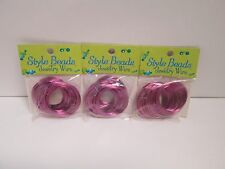 PURPLE COIL WIRE JEWELRY MAKING/ CRAFTS LOT OF 3 PKS