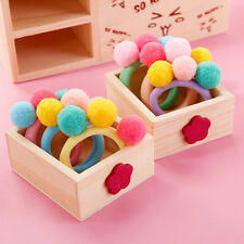 2 Pcs Baby Girl Elastic Hair Rope with Ball Kids Headwear Multicolor TBUS