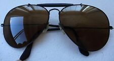 1970's 62 mm VINTAGE B&L RAY BAN BLACK OUTDOORSMAN AVIATOR SUNGLASSES