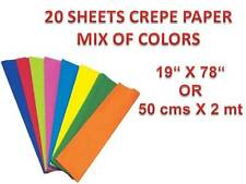 """20 SHEETS CREPE PAPER Size 19""""x78"""" in - MIX OF COLORS - IDEAL TO CREATE FLOWERS"""