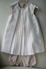 BABY DIOR SILK PLEATED DRESS AND BLOOMERS 18 MONTHS