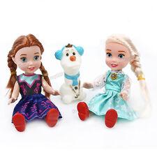 "3PCS Playset Frozen Princess Elsa&Anna&Olaf 7"" Doll Figures Birthday Xmas Gift"