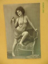 Original French 1910's-1920's Nude Risque BMV Postcard Lady Pose on Chair #155