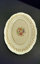 Vintage American Beauty by Stetson Oval Platter with Flowers and Gold Accents