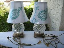 VINTAGE 1950'S CUT TO CLEAR CRYSTAL/BRASS BOUDOIR TABLE/VANITY PAIR OF LAMPS