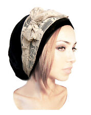 Black Head Scarf Chemo Hat Chemo Cap Pre tied Bandana Tichel Cotton Lace 076