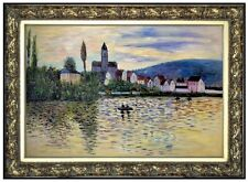 Framed Claude Monet the Seine @ Vetheuil Repro Hand Painted Oil Painting 24x36in