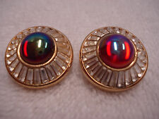 Beautiful Pair Christian Dior Clip On Earrings Gold Tone Red Clear Glass Signed