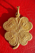 VERY RARE 1920 ROMANIA HANDCRAFT HAPPINESS FOUR LEAF CLOVER BRONZE PENDANT