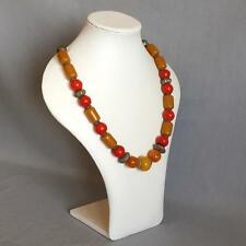 Vintage Arab Necklace Islamic Jewelry Ceramic,Orange Bakelite and Copper Beads