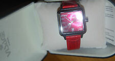 VISAGE Real RED croc embossed leather strap date stainless watch NEW IN BOX