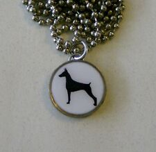 "DOBERMAN PINSCHER Dime Pendant / Charm Necklace with 24"" Chain"