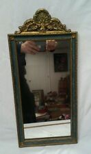 "WOOD FRAME GLASS MIRROR Rectangular Wall Mirror Gold color VINTAGE 21"" ornate"