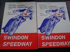 SWINDON PROGRAMMES 26/08/1972 V IPSWICH & 02/09/1972 V GLASGOW NEAT RESULTS F