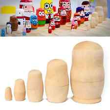 Set of 5 Unpainted DIY Blank Russian Nesting Doll Wooded Matryoshka Toy Gift US